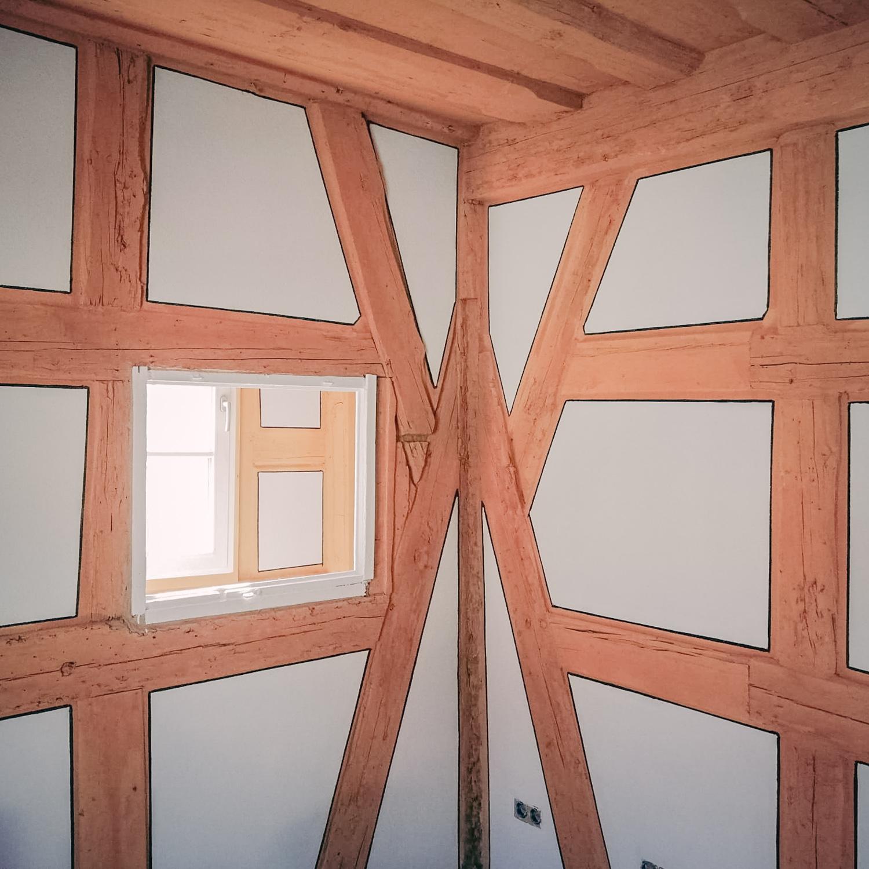 Holzbau Heider Fachwerkwand mit Gefache